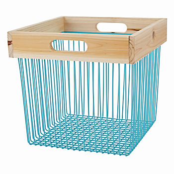 Wood and Wire Aqua Cube Bin
