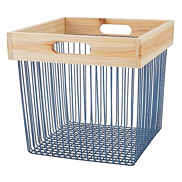 Wood and Wire Blue Cube Bin