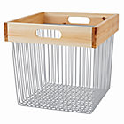 Wood and Wire Grey Cube Bin