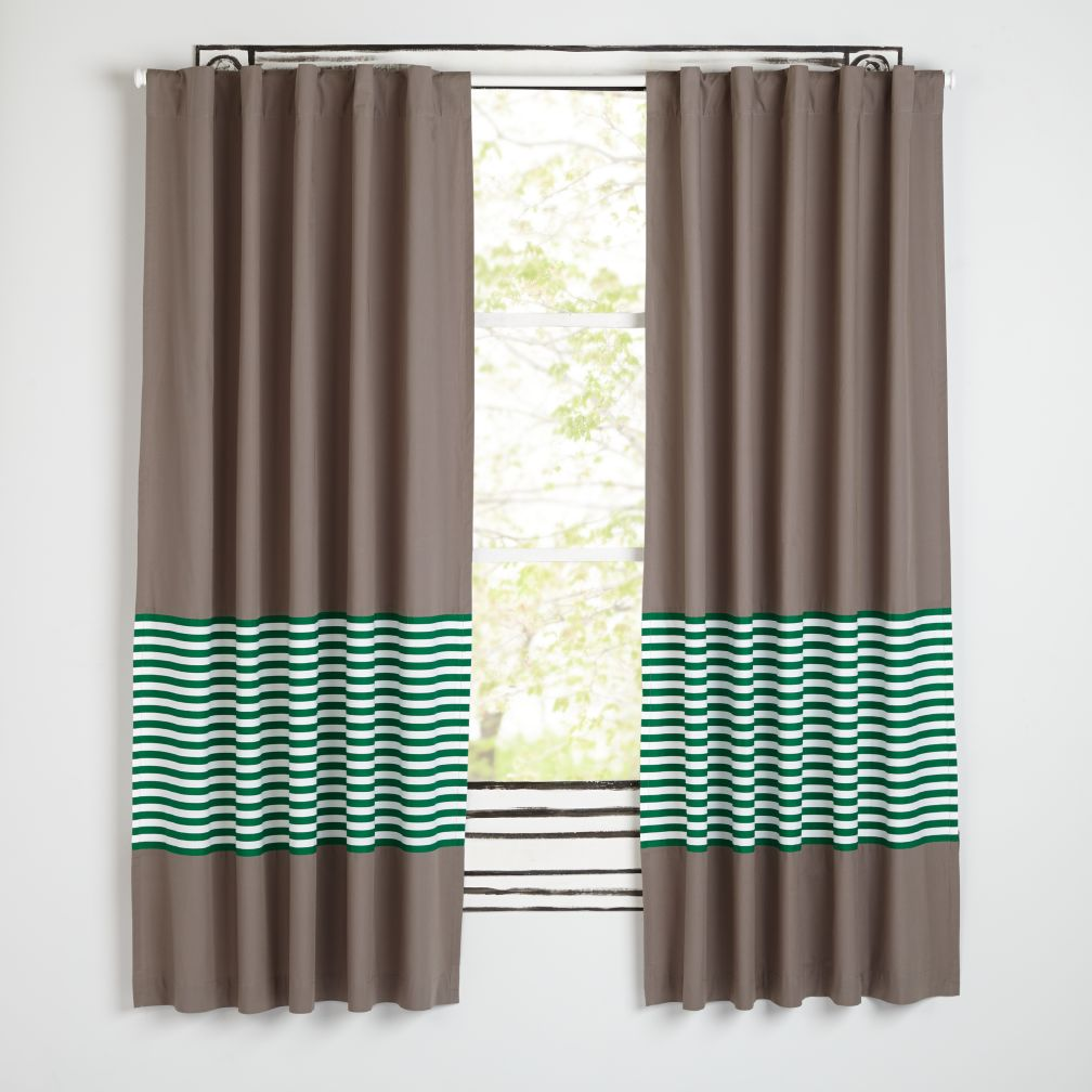 New School Green Stripe Curtains