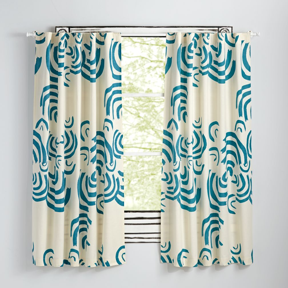 "Cloudscape Teal 84"" Curtain"