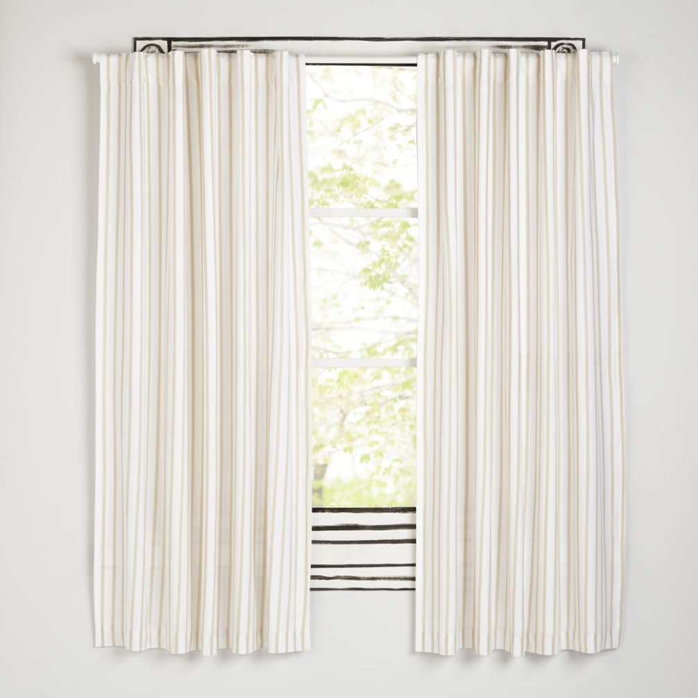 "Early Edition Khaki Stripe 84"" Curtain"