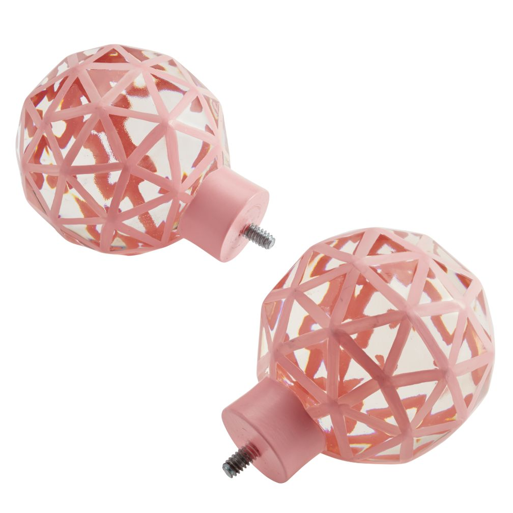 Set of 2 Triangular Ball Finials (Pink)