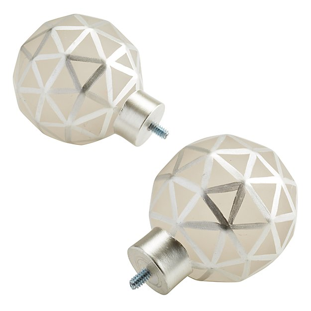 Set of 2 Triangular Ball Finials (Silver)