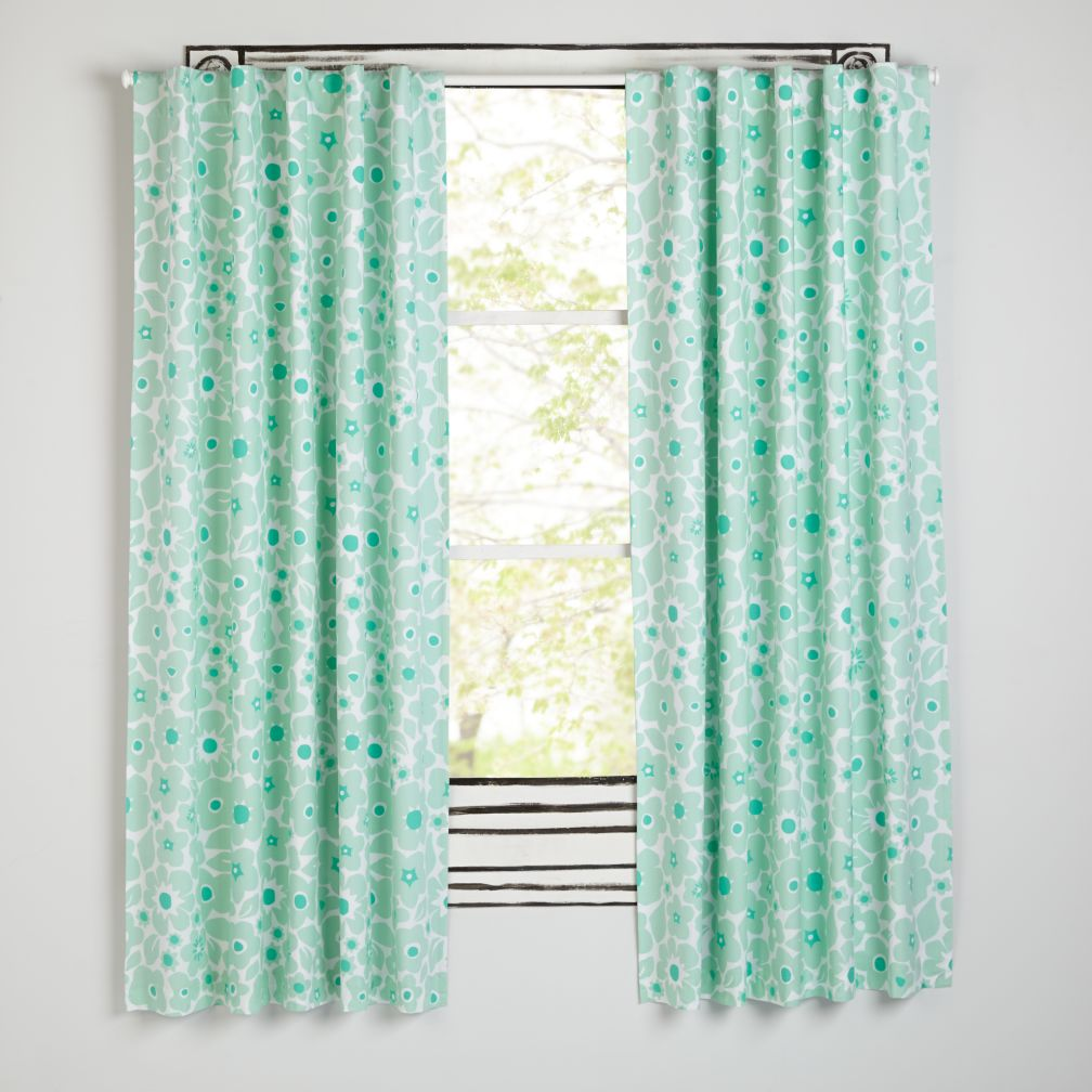 Go Lightly Mint Floral Blackout Curtains