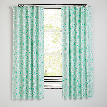 "Go Lightly Mint Floral 63"" Blackout Curtain"