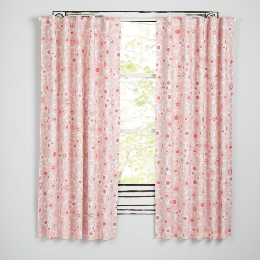 Go Lightly Pink Floral Blackout Curtains