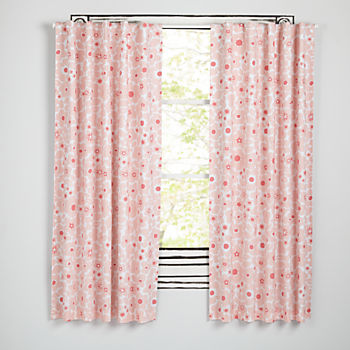 "Go Lightly Pink Floral 84"" Blackout Curtain"