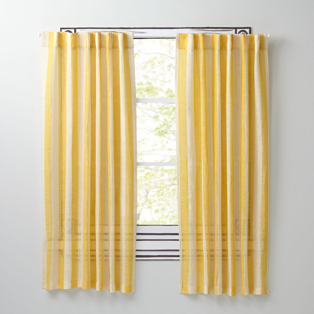 "Line Up Yellow 84"" Curtain"