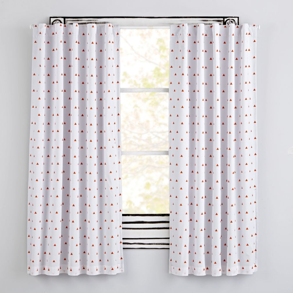 Little Prints Orange Triangle Blackout Curtains