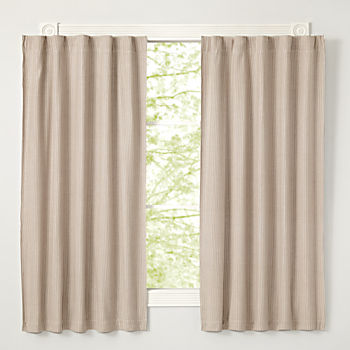 "Grey Striped 63"" Blackout Curtain"