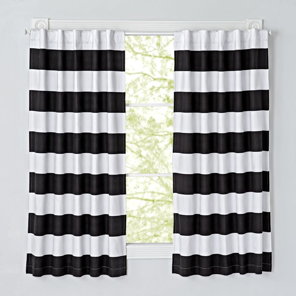 Cabana Stripe Black Blackout Curtains (Set of 2)