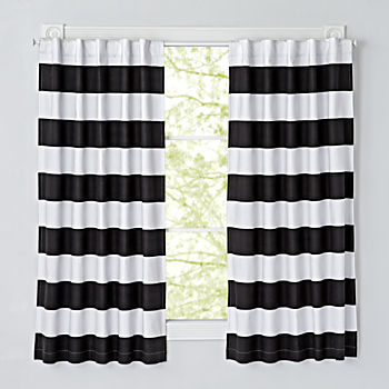 "Set of 2 Cabana Stripe Black 63"" Blackout Curtains"