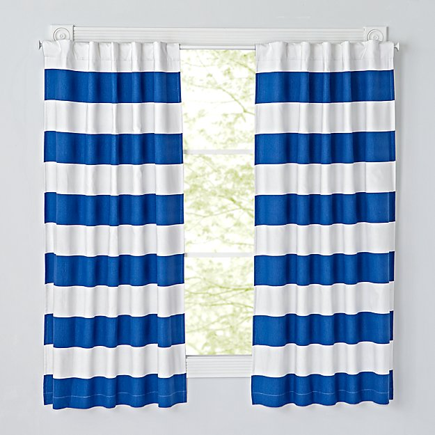 "Set of 2 Cabana Stripe Blue 63"" Blackout Curtains"