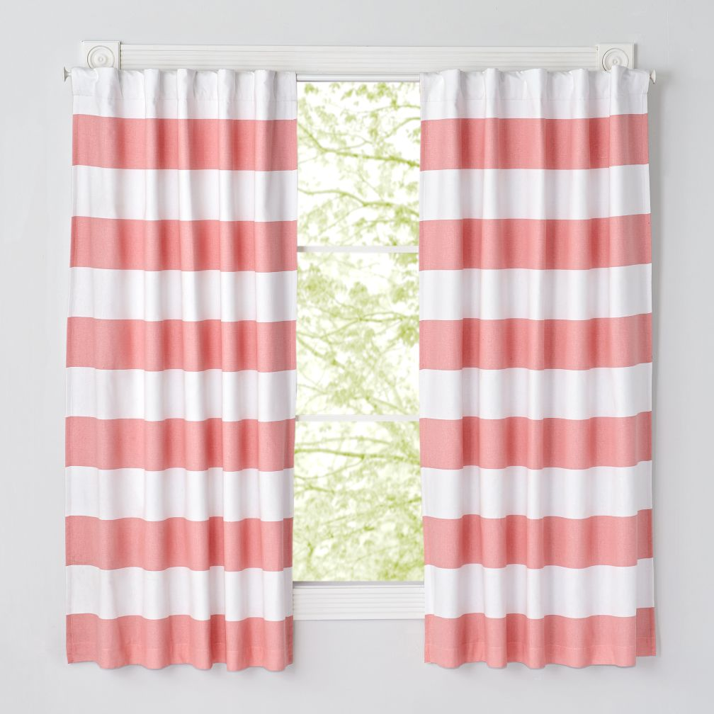 63\'\' Pink and White Striped Curtain | The Land of Nod