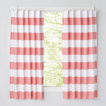 "Set of 2 Cabana Stripe Pink 63"" Blackout Curtains"