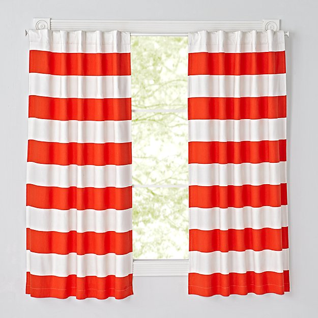 "Set of 2 Cabana Stripe Red 84"" Blackout Curtains"