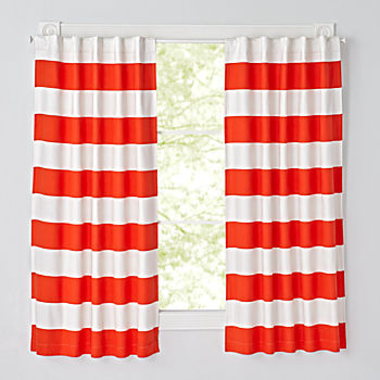 "Set of 2 Cabana Stripe Red 63"" Blackout Curtains"