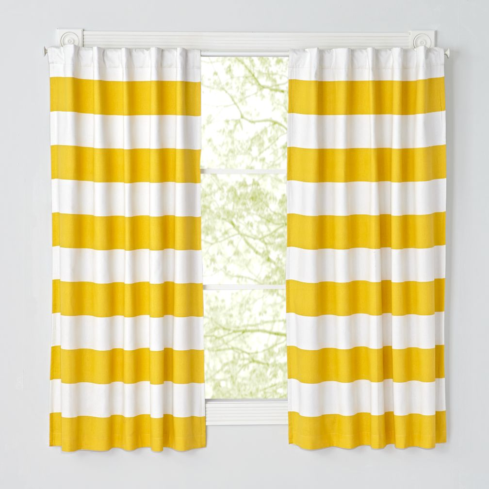 Set of 2 Cabana Stripe Yellow Blackout Curtains