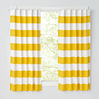 "Set of 2 Cabana Stripe Yellow 63"" Blackout Curtains"