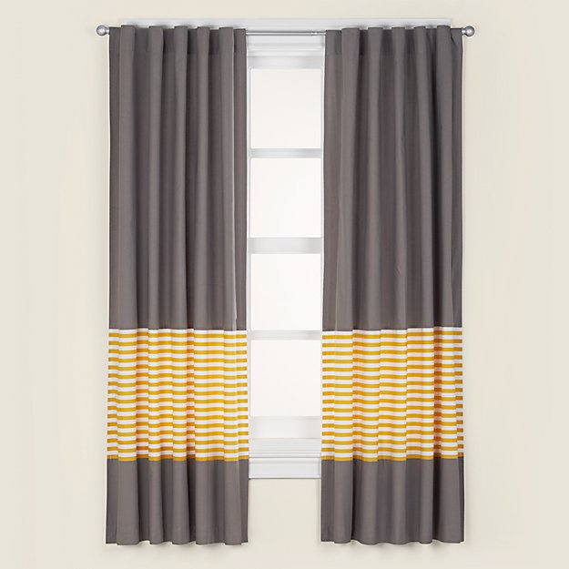 "Organic New School Yellow Stripe 84"" Curtain"