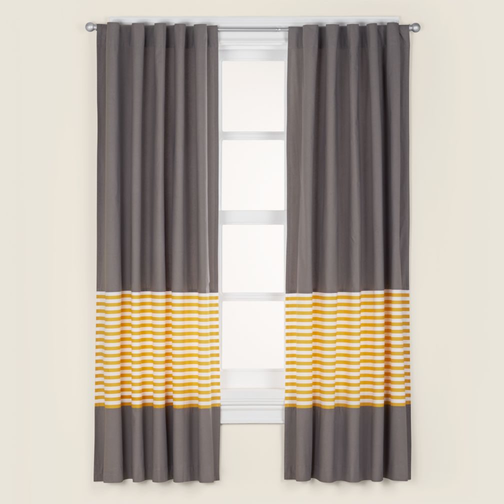 "New School Yellow Stripe 96"" Curtain"