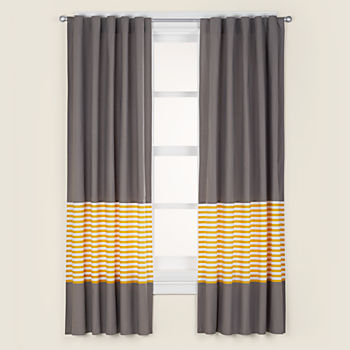 "New School Yellow Stripe 63"" Curtain"