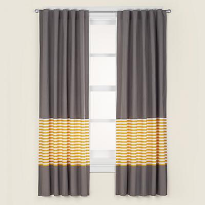 "New School Yellow Stripe 84"" Curtain"
