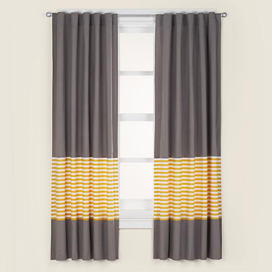 Kids' Curtains: Kids Grey & Yellow Curtain Panels | The Land of Nod