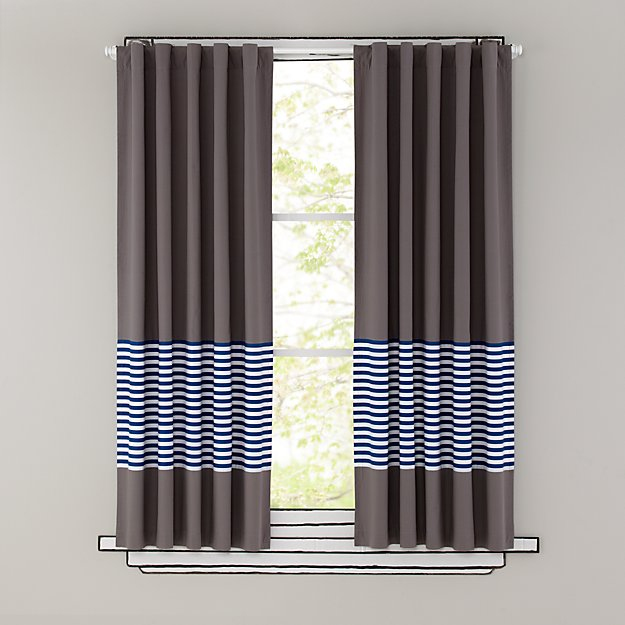"Organic New School Blue Stripe 63"" Curtain"