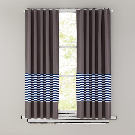Blackout Curtains boys blue blackout curtains : Kids Curtains: Blue Stripe Grey Window Curtains | The Land of Nod