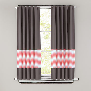 "New School Pink Stripe 63"" Curtain"