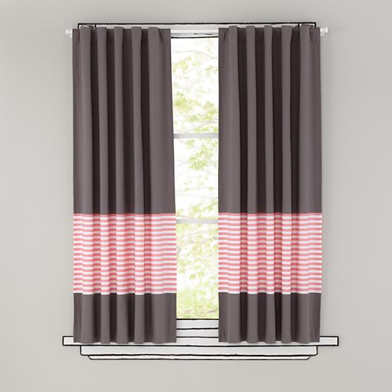 Kids Curtains: Pink Stripe Grey Window Curtains | The Land of Nod