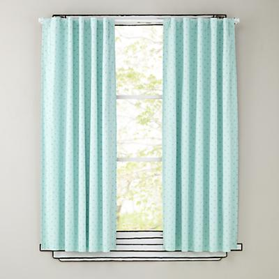 "63"" Aqua Polka Dot Curtain Panels"