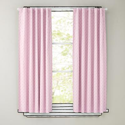 "63"" Pink Polka Dot Curtain Panels"