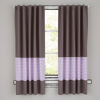 "New School Purple Stripe 96"" Curtain"