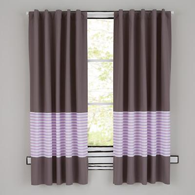 New School Purple Stripe Curtains