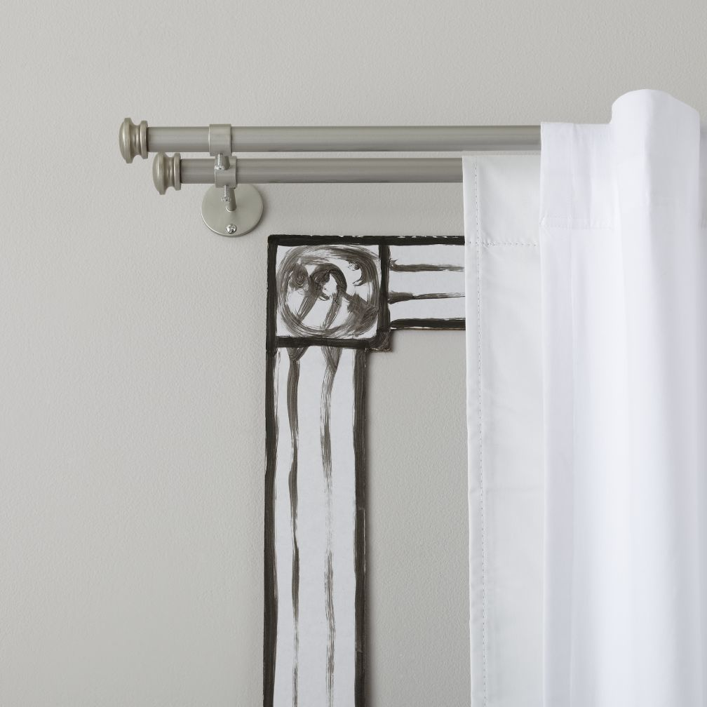 White double curtain rods - Curtain Accessories Nickel Button Cap Double Curtain Rod The Land Of Nod