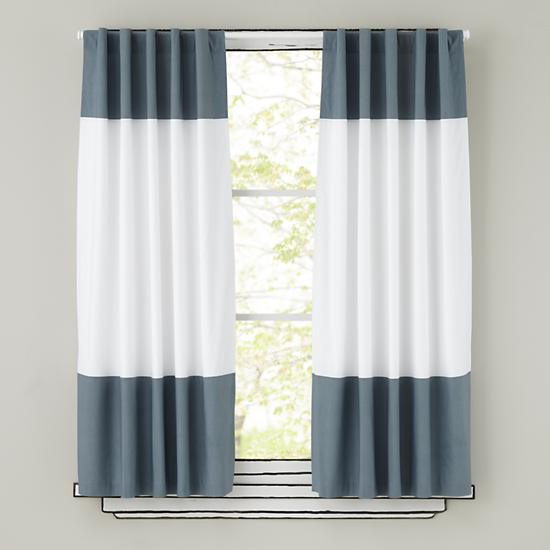 Kids Curtains: Grey and White Curtain Panels | The Land of Nod