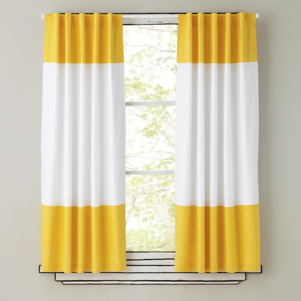 Kids Curtains Yellow And White Curtain Panels