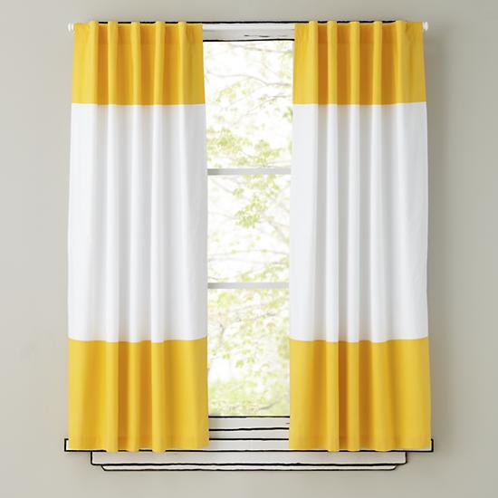 Kids Curtains: Yellow and White Curtain Panels | The Land of Nod