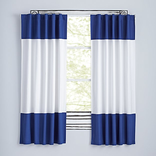 "Color Edge Dark Blue 84"" Curtain"