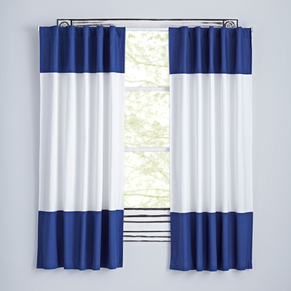 "Color Edge Dark Blue 63"" Curtain"