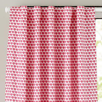 "63"" Fine Prints Curtain Panel (Pink Hearts)"