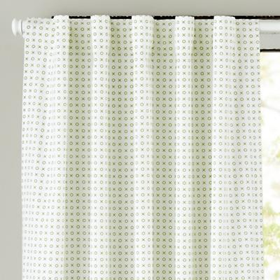 "63"" Fine Prints Curtain Panel (Green XO)"