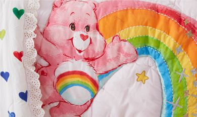 Care Bears quilt close up