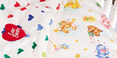 Care Bears bedding close up