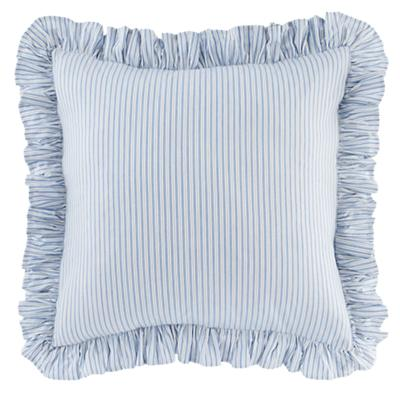 Blue Ruffle Ticking Euro Sham Set