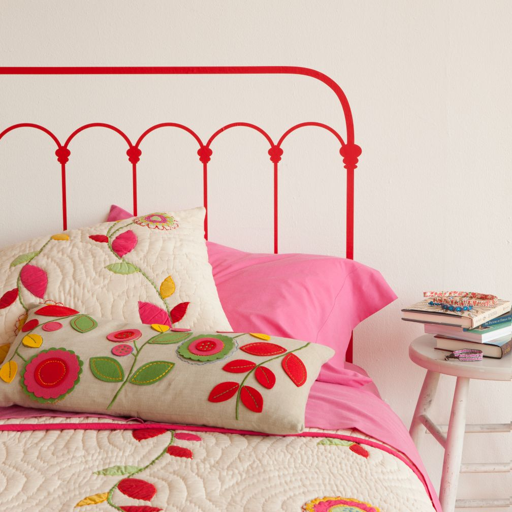 Wrought Iron Beds Wood On Headboard Decal Red