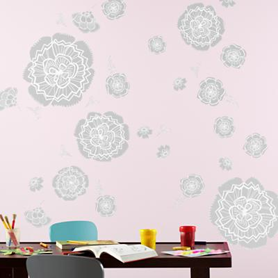 Bursting Bloom Flower Decals (Grey)